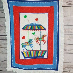 Vintage Carousel Baby Quilt Blanket Balloons 46x35